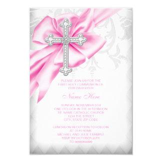 Cartão Primeiro comunhão da cruz cor-de-rosa do damasco