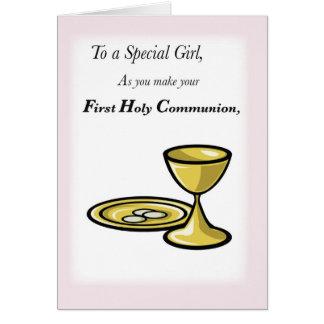 Cartão Primeiro comunhão, menina especial