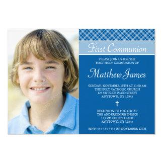 Cartão Primeiro comunhão santamente da foto azul do