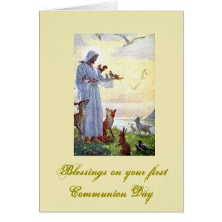 Cartão Primeiro comunhão santamente - para parabéns -