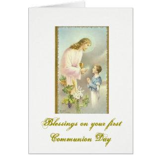 Cartão Primeiro comunhão santamente - parabéns -