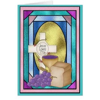 Cartão Primeiro comunhão santamente, vitral