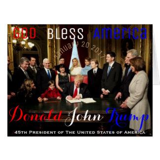 Cartão Primeiro dia de Donald Trump como o presidente dos