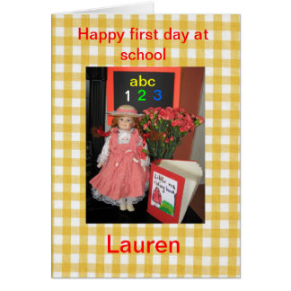 Cartão Primeiro dia feliz na escola Lauren