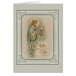 Cartão Primeiro Eucaristia da Virgem Maria do comunhão