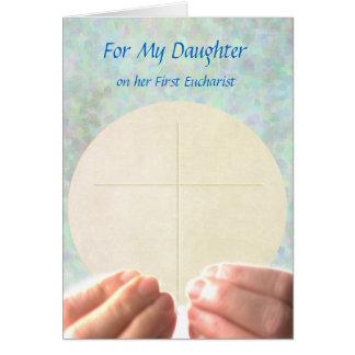 Cartão Primeiro Eucaristia - filha