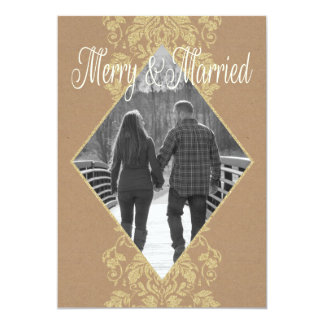 Cartão Primeiro Natal alegre & casado do damasco junto
