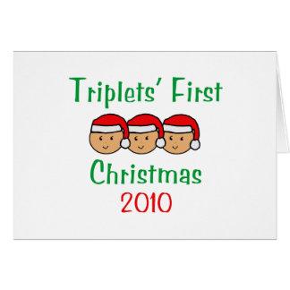 Cartão Primeiro Natal das objectivas triplas