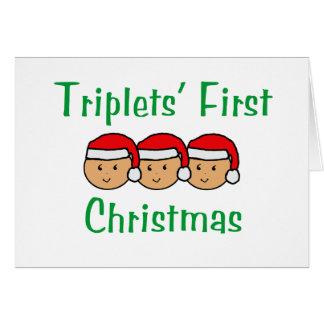Cartão Primeiro Natal das objectivas triplas - chapéus do