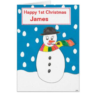 Cartão Primeiro Natal feliz James