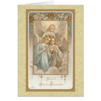 Cartão Primeiro vintage do anfitrião do Eucaristia dos