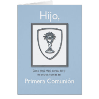 Cartão Primeiros comunhão, espanhol, azul e prata do
