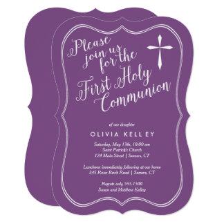 Cartão Primeiros quadro e cruz do Tag do comunhão