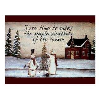 Cartão primitivo do boneco de neve