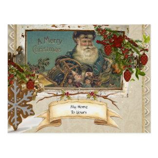 Cartão primitivo do feriado do papai noel do país