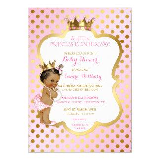 Cartão Princesa bebé do rosa & do afro-americano do ouro