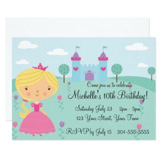 Cartão Princesa bonito festa de aniversário