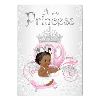 Cartão Princesa chá de fraldas do afro-americano