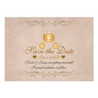 Cartão Princesa Cinderella Carruagem Salvamento do ouro a