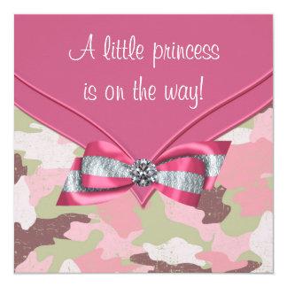 Cartão Princesa cor-de-rosa chá de fraldas da camuflagem