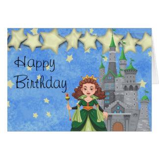 Cartão Princesa do livro de histórias no verde com