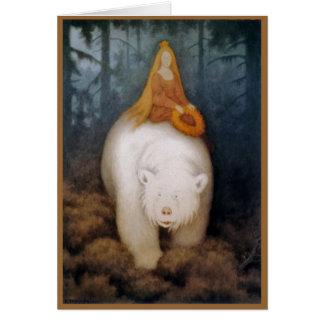 Cartão Princesa Equitação rei urso polar
