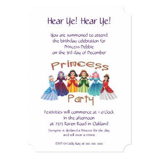 Cartão Princesa festa de aniversário
