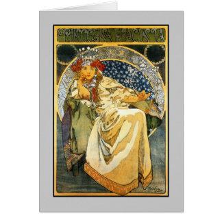 Cartão Princesa Jacinto de Nouveau Alfons Mucha da arte