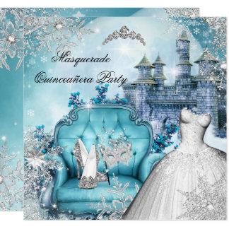 Cartão Princesa mágica Azul do mascarada de Quinceanera