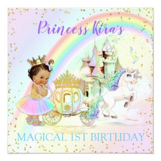 Cartão Princesa mágica Castelo Carruagem Unicórnio do