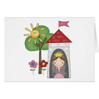 Cartão Princesa no camiseta e nos presentes da torre