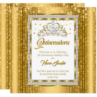 Cartão Princesa régia Quinceanera Ouro Branco Diamante