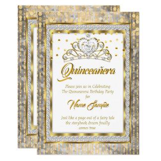 Cartão Princesa régia Quinceanera Ouro Branco Prata