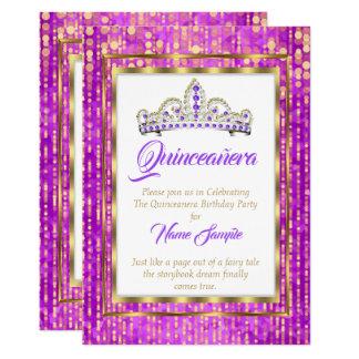 Cartão Princesa régia Roxo Quinceanera Ouro Branco