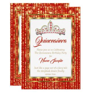 Cartão Princesa régia Vermelho Quinceanera Ouro Branco