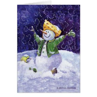 Cartão principal do boneco de neve do fan de