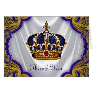 Cartão Príncipe azul rei Coroa Agradecimento Você do ouro