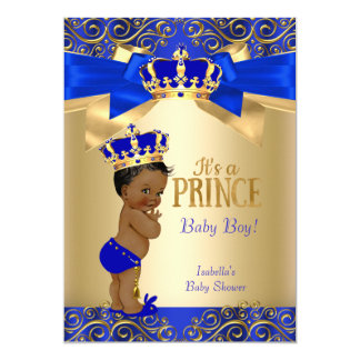 Cartão Príncipe chá de fraldas do damasco do ouro dos