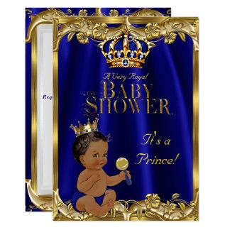 Cartão Príncipe chá de fraldas do ouro do marinho dos