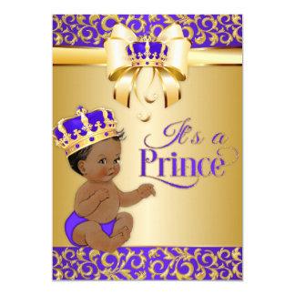 Cartão Príncipe Coroa do afro-americano do roxo real & do