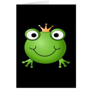Cartão Príncipe do sapo. Sapo de sorriso com uma coroa