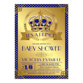 Cartão Príncipe elegante chá de fraldas do ouro dos azuis
