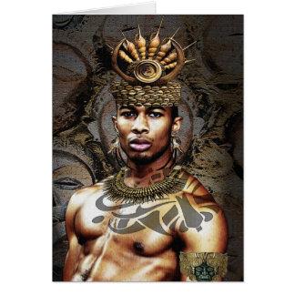 Cartão Príncipe tribal do afro-americano