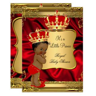 Cartão Príncipe vermelho chá de fraldas do afro-americano