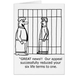 Cartão Prisão perpétua da piada uma do advogado