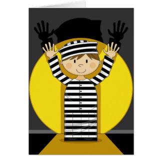 Cartão Prisioneiro escapado desenhos animados no