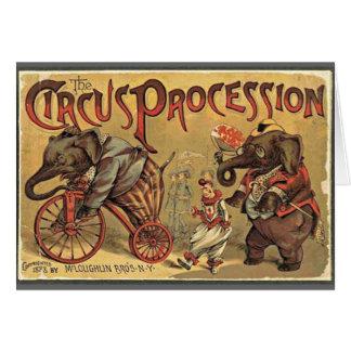Cartão Procissão do circo, 1888, vintage