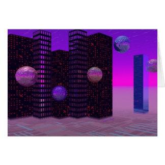 Cartão Procura do monólito, violeta abstrata da cidade