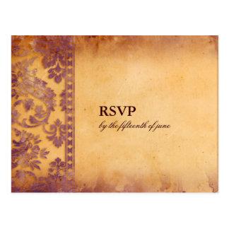 Cartão pródigo do casamento tema damasco RSVP do G Cartao Postal