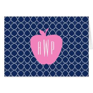 Cartão Professor cor-de-rosa do monograma de Quatrefoil